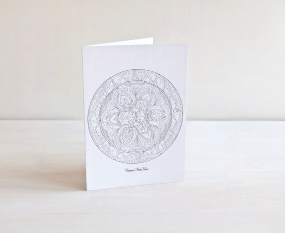 Deseos Mandala para colorear tarjeta saludo-Arteterapia | Etsy