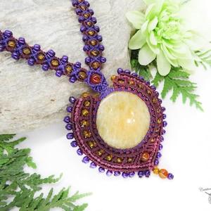elf necklace ceremonial necklace baroque necklace Fairy jewel Macrame necklace with Calcite- Burgundy necklace Cr\u00e9ation Netenkena