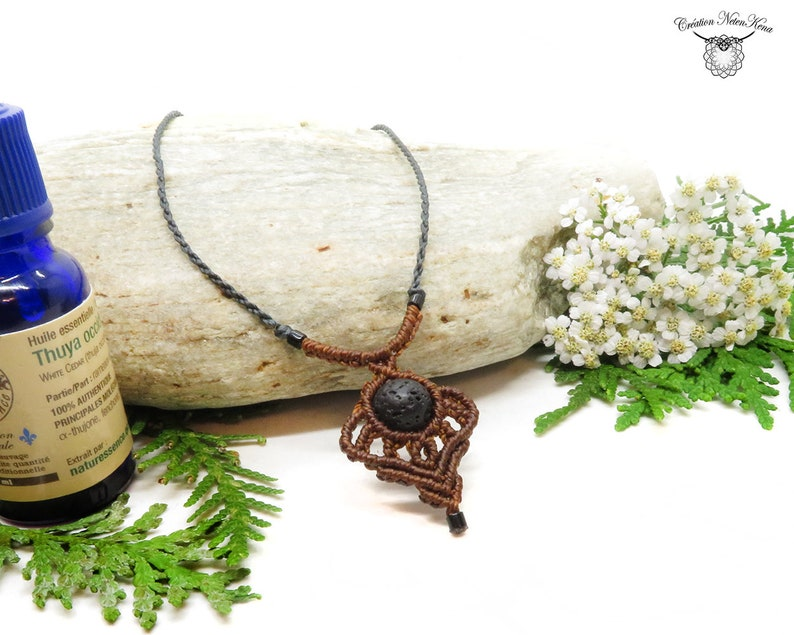 Essential oil diffuser necklace macrame necklace with image 0