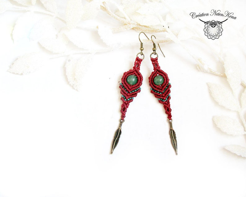 Feather  Macrame earring with choice of semi-precious stone image 0