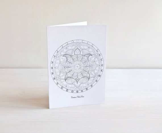 Saludo tarjetas Mandala para colorear tarjeta de | Etsy