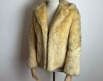 Vintage 1960s Gorgeous UK Size 10-12 Fluffy Blonde Teddy Faux Fur Coat By LC Tailor Wear