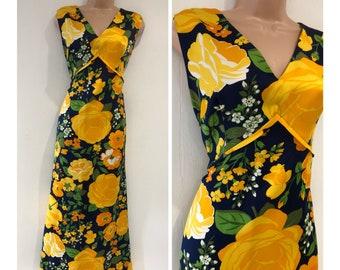 9000e2060bf Vintage 1970s UK Size 16 Navy Blue Yellow   Green Bold Floral Print  Sleeveless Tie Back Occasion Boho Maxi Dress
