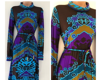 a0a0fa11b4cc18 Vintage 1970s Striking Approx UK Leonard Paris Signed Size 10 Brown Blue  Purple Olive Green Nouveau Inspired Printed Belted Jersey Dress
