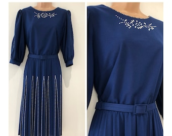 1815cd36be90 Vintage 1980s UK Size 14 Blue Bead Detail Belted Pleated 40's Style Pretty  Day Dress