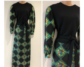 064861a946b Vintage 1970s Size 16 Black Green Teal Red Floral Check Print Pure New Wool  Bodice Long Sleeve Belted Boho Maxi Dress