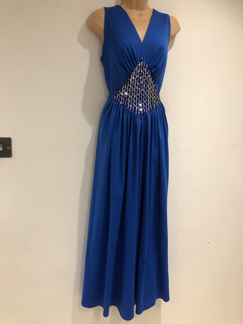 Vintage 1970s UK size 14 Gorgeous Electric Blue Sequin Panel Sleeveless Tie Back Xmas New Years Eve Evening Occasion Maxi Dress