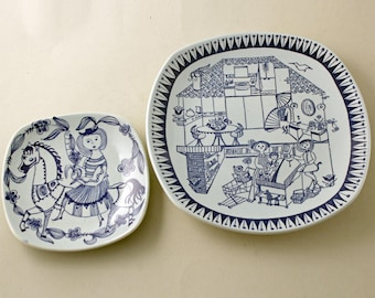 Kari Nyquist, Stavangerflint Norway. Pair of Dishes, Blue Series, 'BRIDE' and a Christmas Dish 1972.  Scandinavian Ceramics