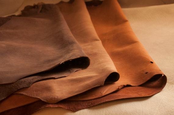Cuir de veau marron artisanat - tannage végétal   Aniline teintée efd2ea1a4f1