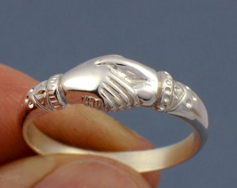 Original Fede Ring a symbol of fidelity and friendship- made to your size in 925 sterling silver