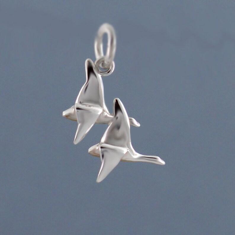 Pair of flying geese pendant in 925 sterling silver