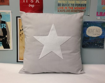 Star - Grey Cotton Cushion Pillow Cover White Felt Modern Eclectic Design Applique Traditional Christmas 14 16 18 20 22 24 inch Size