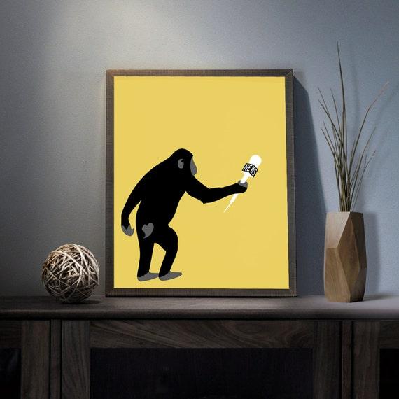 Monkey Business Digital Art Print Inspirational Monkey Wall Etsy