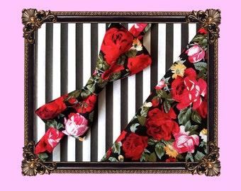 Dark rose bow tie and pocket square set