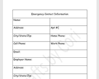 "Emergency Contact Sheet 8.5""x11"" Planner Insert v.1"