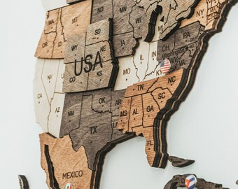 Wooden World Map Housewarming New Home Gift Push Pins Rustic Wall Decor Personalized Gift Home Art Farmhouse Wedding Gift for Couple
