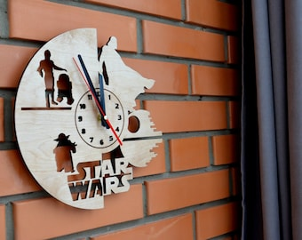 Gift for Boyfriend Star Wars Wall Wood Clock Home Star Wars Decor Housewarming Gift for House Warming Living Room Husband Gift for Brother