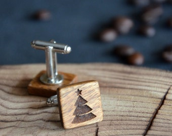 Winter Wedding Wooden Cuff links Tree Christmas Gift Holiday gift for Him Men Husband Personalized Engraved Rustic Jewelry Wood