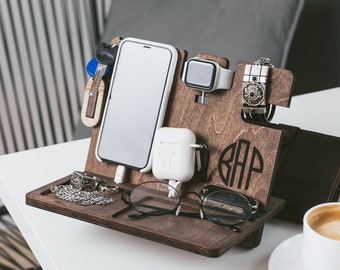 Docking Station Mens Birthday Gift for Father Custom Dock Station Organizer Station Personalized Gifts IPhone Stand Christmas Gift For Dad