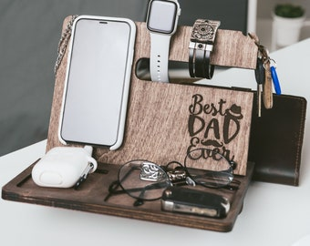 Wooden Phone Stand Docking Station Mens Nightstand Valet IPhone Stand Gift For Dad Charging Station Personalized Gift for Him Christmas Gift