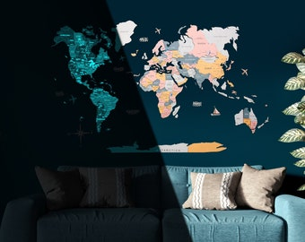 Map Of The World 3D World Map Colorful Wall Art Home Wall Decor Living Room Wall Decor Wooden World Map World Travel Map Housewarming Gift