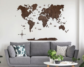 Wall Map of the World Map Wooden Travel World Map Push Pin Map Weltkarte Holz Walnuss 5th Anniversary Gift for Husband