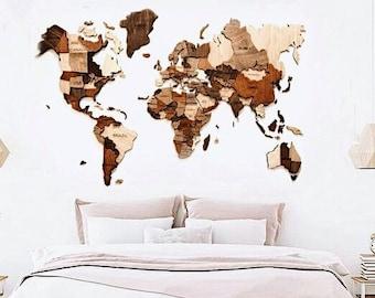 Wood World Map Etsy