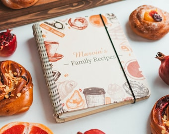 Personalized Gift, Christmas Gift, Gift For Her, Recipe Book, Custom Recipe Binder, Mother In Law Gift, Wood Anniversary Gift Mother Gift