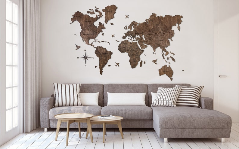 Push Pin Travel World Map Mothers Day Travel Lover Gift Wooden image 0