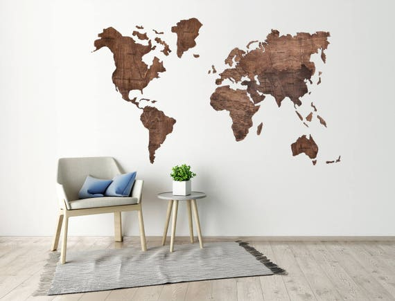 Push pin travel world map wooden pin map of the world wall etsy image 0 gumiabroncs Choice Image