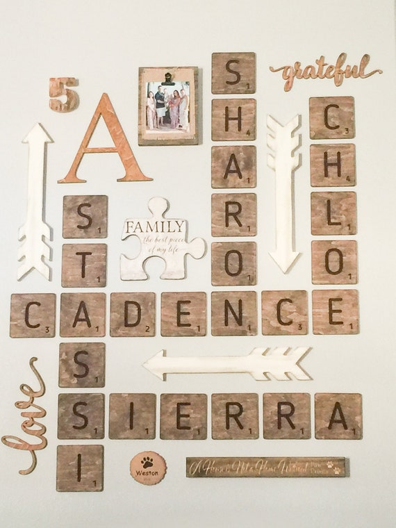 Wooden Scrabble Tiles Wall Art Letters For Farmhouse Wall Art | Etsy