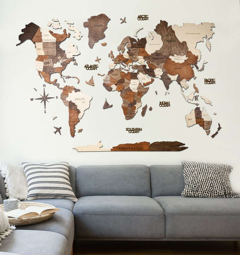5th Anniversary Gift For Husband Wooden World Map Wall Art image 0