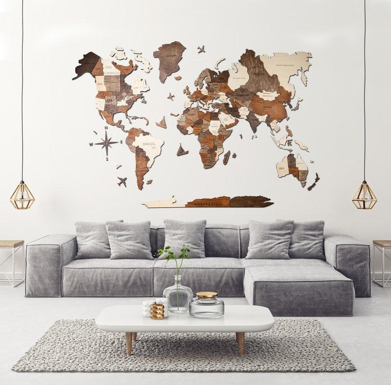 Wall Decor World Map Wall Art Anniversary Gift For Husband NO