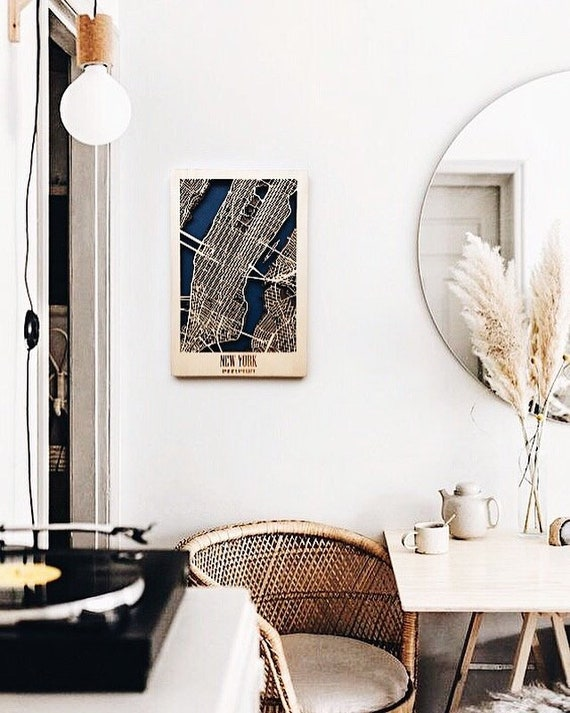 Modern Dorm Wall Decor Gift For Wanderlust Wood Map New