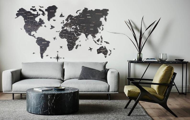 Push Pin World Map Wall Art
