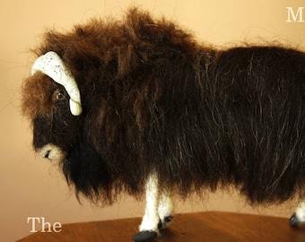 Muskox, musk ox, needle felting animal, musk ox sculpture, ox soft dolls, animal dolls, animal miniatures, hairy bull needle felted