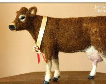Cow, Needle felting Jersey Cow, Cow decor, felted cow, needle felting, farm animals, Jersey cattle