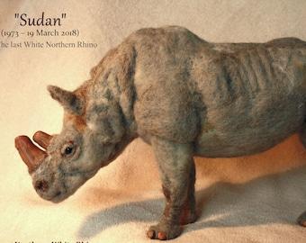 Felted animals, Sudan, rhino, rhinoceros, african animal, sudan the rhino, needle felting animal, felted doll, felting animal