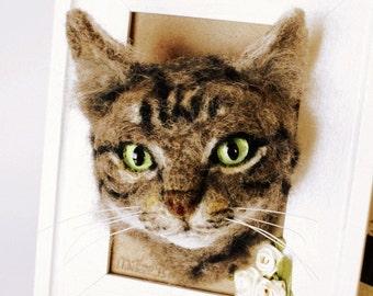 Cat Personalised portrait, Needle felted Cat portrait, OOAK memorial cat portrait, pet framed portrait, made to order needle felting cat