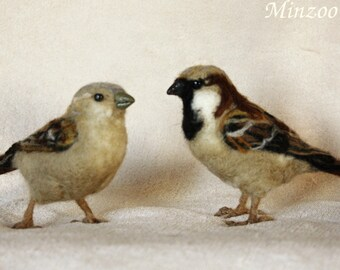 Needle felted birds, Two Sparrows male and female set, felted animal sculptures