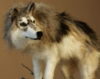 Needle felted Wolf, grey wolf totem animal sculpture, The Lonely, wolf decorative gift
