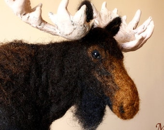 Needle felted Moose, needle felting animal, Moose soft doll, Moose sculpture Made to order, deer, antlers