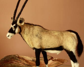 Felted animal, Gemsbok, needle felting, gemsbok antelope, oryx gazella, antelope, africa animal
