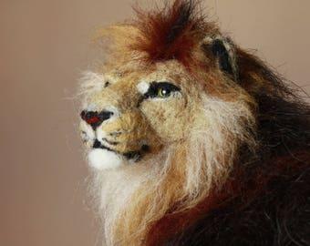 Lion, needle felting lion, african lion sculpture