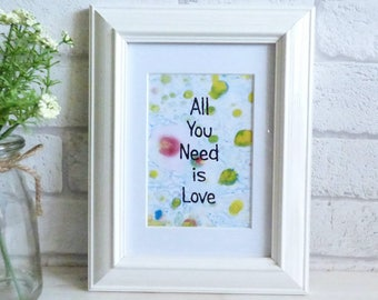 All You Need is Love, Marble Typography Art Print Quote, Unframed
