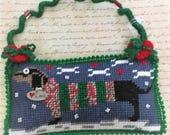 Needlepoint Dachshund Stuffed Pillow Hanger Ornament Dog Ornament Needlework Ornament Hotdog Doggie