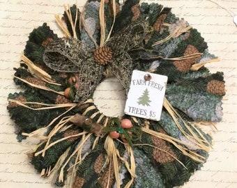 Mini Wreath Rag Wreath Fabric Wreath Christmas Wreath Door Hanger Wreath Ornament