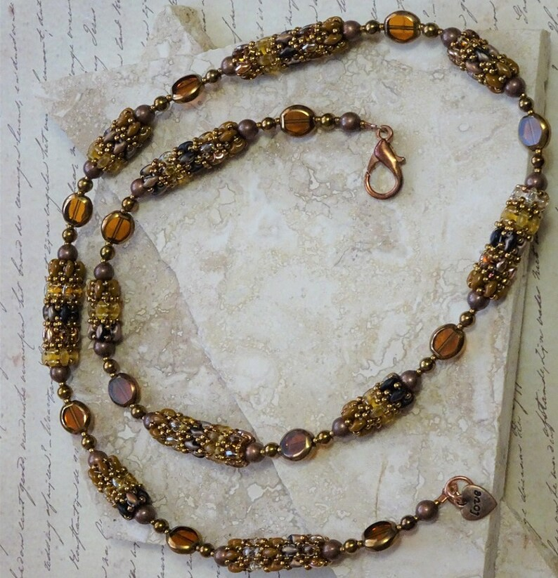 Bronze and Topaz Colors Super Duo Glass Beaded Bead Link Style Necklace Designed by Christine/'s Boutique