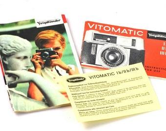 Vintage Voigtlander Vitomatic Instructional Book,Pamphlet & Card