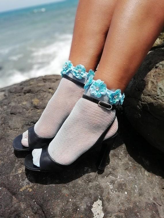 80568b46c Items similar to Blue   Silver Dreamy Mesh Socks for Women - Fairy Kei  Fashion